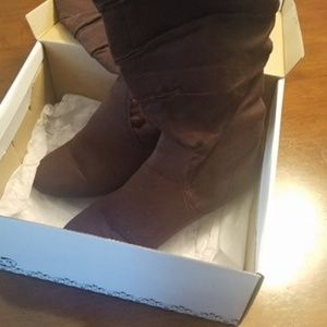 Tall Brown Suede Boots